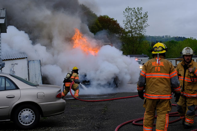car fire with exposures